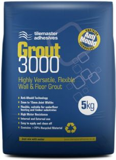 tilemaster Grout 3000 Flexible Wall & Floor Grout 5kg Anti-Mould 9 colours